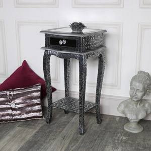 Silver Embossed Mirrored Slim Bedside Table - Monique Range