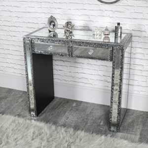 Silver Embossed Mirrored 2 Drawer Dressing Table - Monique Range
