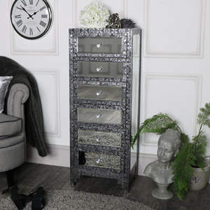 Silver Embossed Mirrored 6 Drawer Tallboy - Monique Range