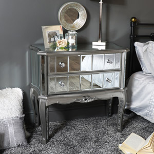 Silver Glass Mirrored 2 Drawer Console/bedside table - Tiffany Range