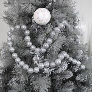 Silver Glitter Ball Christmas Garland