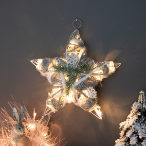 Silver Glitter Frosted Hanging LED Christmas Star
