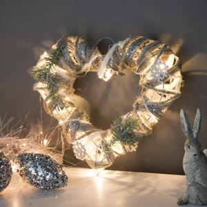 Silver Glitter Frosted LED Christmas Heart
