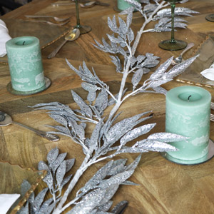 Silver Glitter Leaves Garland