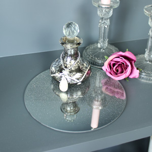 Silver Glitter Mirrored Glass Candle Plate