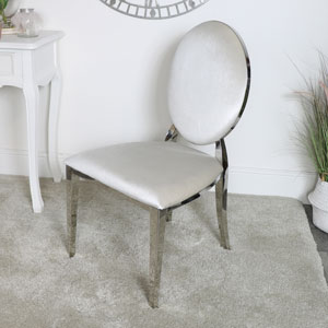 Silver & Grey Velvet Dining Chair