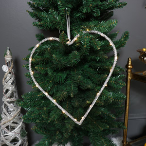 Silver LED Light Up Hanging Heart Decoration