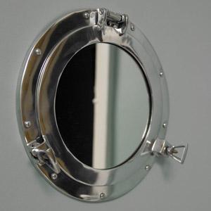 Silver Metal Porthole Mirror 28cm x 28cm