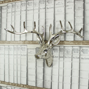 Silver Metal Stags Head - 38cm x 25cm
