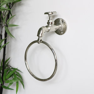 Silver Metal Tap Towel Holder