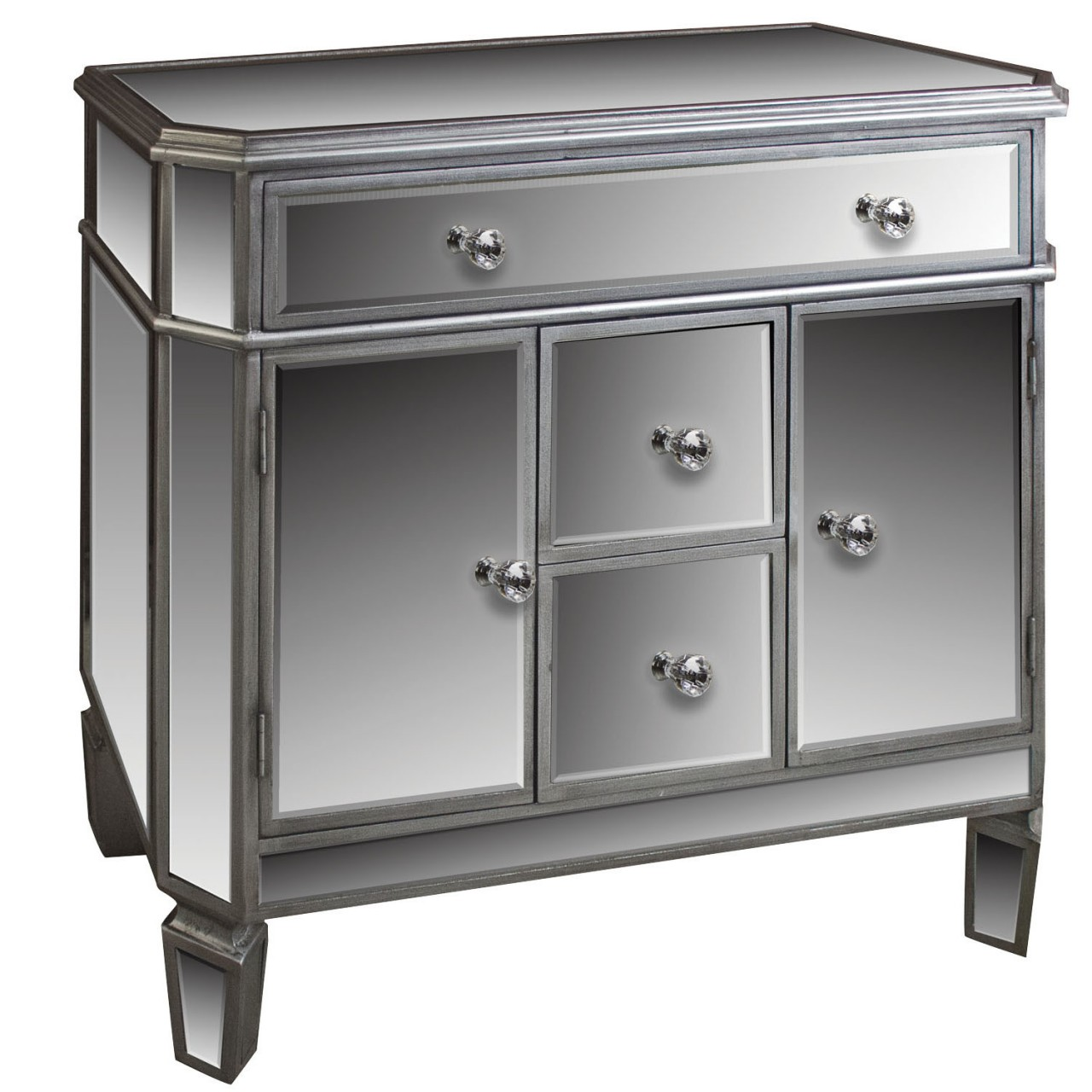 Silver Mirrored 4 Drawer 2 Cupboard Sideboard - Angelina Range