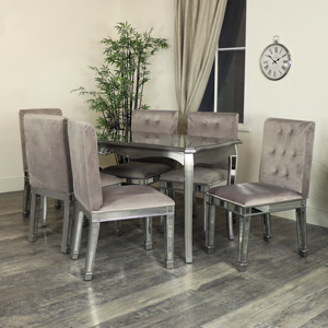 Silver Mirrored Dining Table & Chair Set - Tiffany Range