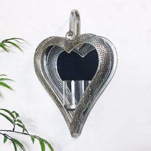 Silver Mirrored Heart Candle Sconce