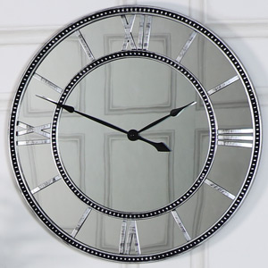 Silver Mirrored Skeleton Wall Clock