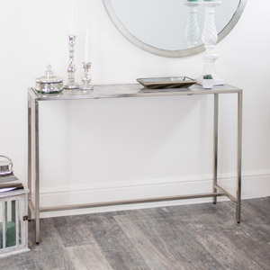 Silver Monochrome Console Table