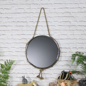 Silver Nickel Nautical Wall Mirror with Rope Hanger 44cm