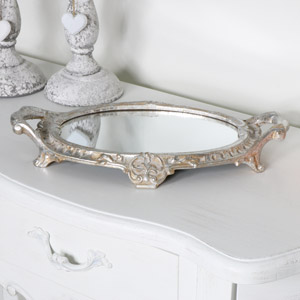 Silver Oval Mirrored Display Tray