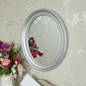 Silver Oval Wall Mirror