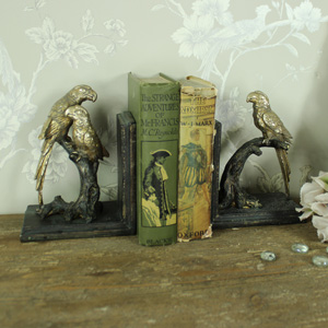 Gold Perched Parrot Bookends