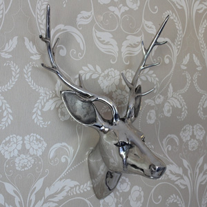 Silver Wall Mounted Stags Head - 15cm x 30cm x 14cm