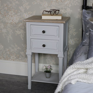 Slim Grey Bedside Lamp Table - Stanford Range