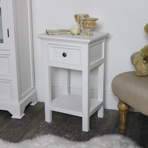 Daventry White 1 Drawer Bedside