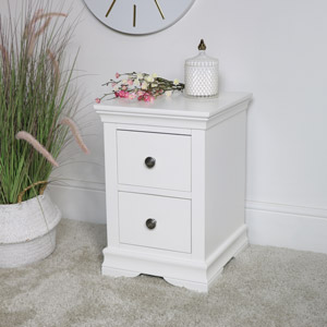 Slim White Bedside Table - Newbury White Range
