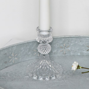 Small Clear Glass Candlestick