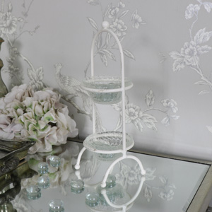 Small Cream Metal 2 Tier Glass Bowl Holder