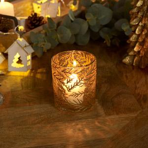 Small Gold Fern Glass Tealight Holder