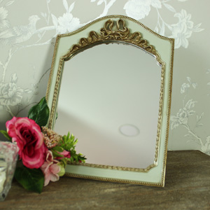 Small Gold & Green Vintage Tabletop/Wall Hanging Vanity Mirror