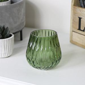Small Green Glass Tealight Holder