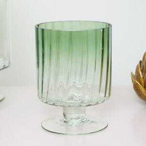 Small Green Ombre Glass Hurricane Vase