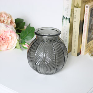 Small Grey Leaf Print Glass Vase