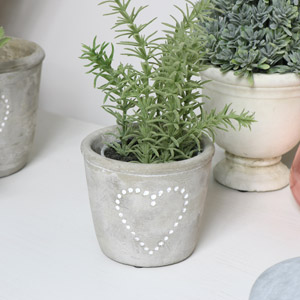 Small Grey Stone Heart Planter