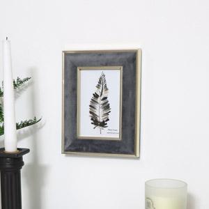 Small Grey Velvet & Gold Photo Frame