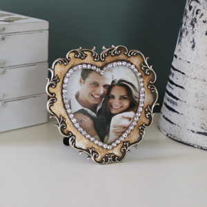 Amber Jewel Heart Photograph Frame