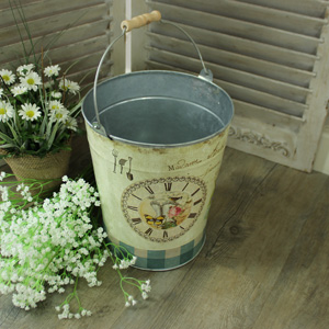 Small Metal Vintage Floral Decorative Garden Pail/Bin