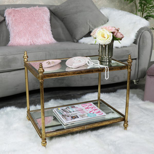 Small Rectangle Antique Gold Mirrored Side Table