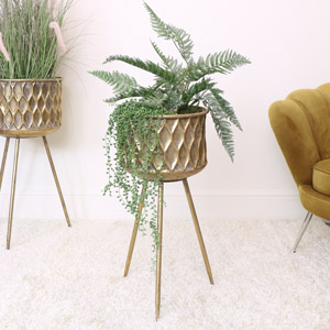 Small Round Antique Gold Patterned Planter