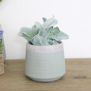 Small Tall Round Green & Grey Planter Pot