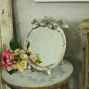Rustic Cream Rose Vanity Mirror