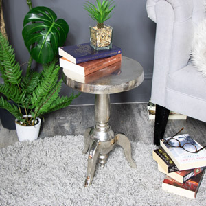 Small Silver Round Side Table