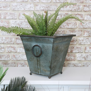 Small Square Metal Industrial Planter