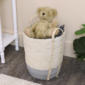 Small White & Grey Seagrass Basket/Toy Box