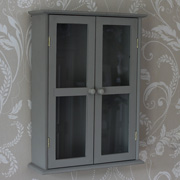 Small Taupe Glass Fronted Wall Cabinet