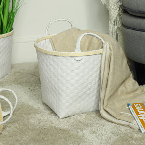 Small White Woven Laundry Basket