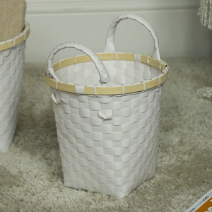 Small White Woven Storage Basket