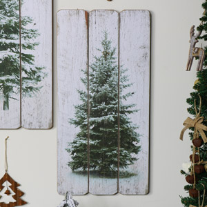 Snow Covered Christmas Fir Tree Wall Plaque