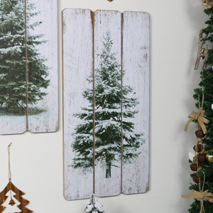 Snowy Fir Tree Wooden Wall Plaque
